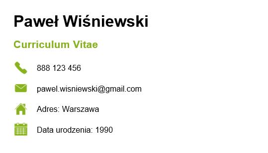 dane osobowe wCV