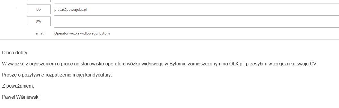 co napisać wmailu zcv?